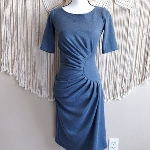 Shabby Apple Dusty Blue Ruched Gathered Dress 2